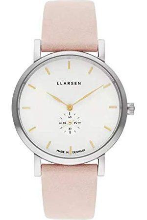 LLARSEN Dames analoog kwarts horloge met lederen armband 144SWG3-SPOWDER18