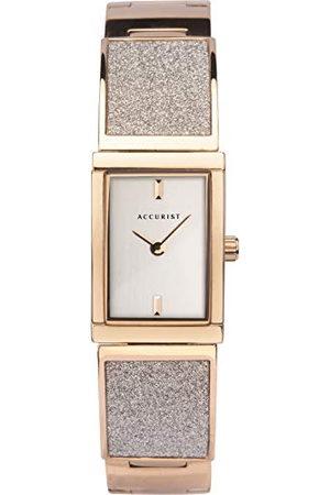 Accurist Womens Japanse Quartz RVS Semi-Bangle Horloge Set Met Kristal Stof, Sieraden Type Sluiting, 30m Waterbestendig, 2 jaar garantie.