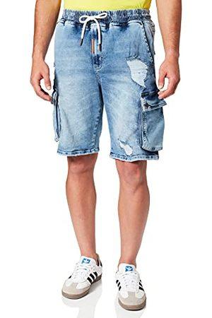 Gianni Kavanagh Light Blue Ripped Cargo Shorts voor heren.