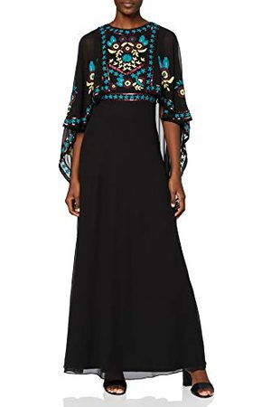 Frock and Frill Dames Cape mouw geborduurde Maxi jurk Cocktail