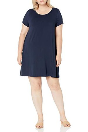 Amazon Grote maten korte mouwen ronde hals swing jurk, marine, 6X