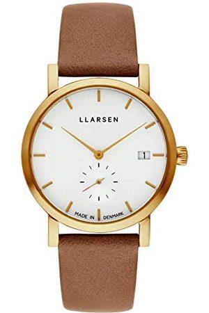LLARSEN Dames analoog kwarts horloge met lederen armband 137GWG3-GCAMEL18