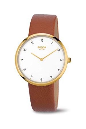 Boccia Dames analoog kwarts horloge met echt lederen armband 3309-06
