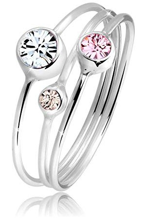 Elli Ringen Dames Stapelring Set Modern met Kristallen in 925 Sterling Zilver