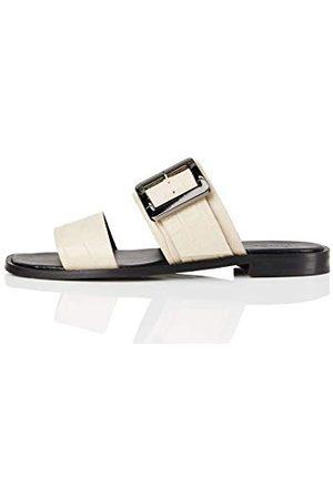 FIND Amazon-merk - vinden. Twee delen gesp leer, vrouwen Open teen sandalen, Been,4 UK