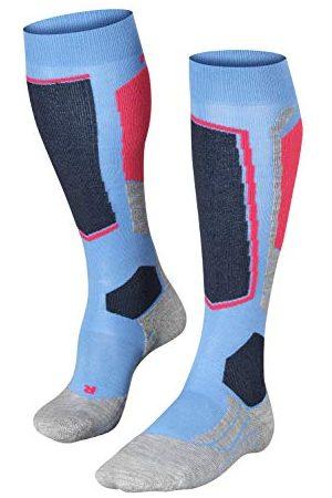 Falke SK2 skisokken voor dames, wol, maat 35-42, zwart, , vele andere kleuren, dikke versterkte skisokken zonder patroon met gemiddelde voering kniehoog en warm voor het skiën 1 paar
