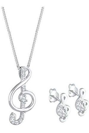 Elli Sieradenset voor dames, muzieksleutel, hanger, muziek met Swarovski-kristallen, 925 sterling zilver