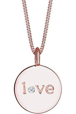 Elli Dameshanger, 925 sterling zilver, Xilion, geslepen diamant, liefdeshanger, lengte 45 cm