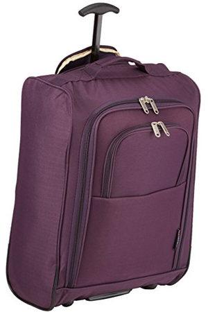 5 Cities 5Steden 50cm Lichtgewicht Trolley Hand Bagage Bag - Goedgekeurd Ryanair & Easyjet 2 Wheel Cabin Carry On Board Baggage. 42L reistas tas met hangslot. (50CM, pruim)