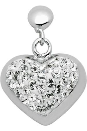 Carlo Monti Dames-oorstekers Behang 925 / Sterling zilver gerhodineerd, hartvormig met witte kristalstenen JCM1133-218