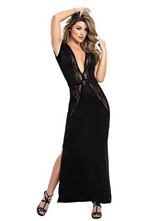Mapalé Mapalé mal4484blkl jurk lange avondjurk crotchless op kniedecolleté en open rug met kanten inzetstukken maat L