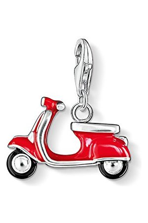 Thomas Sabo Dames Charm Club-hanger Roller 925 Sterling zilver rood en zwart geëmailleerd 0827-007-10