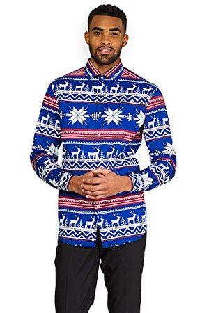 OppoSuits Heren Kerst getailleerd Knoop-up Shirt met lange mouwen