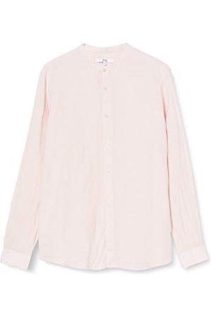 FIND Amazon-merk - vinden. Herenlinnen Grandad kraag met lange mouwen Regular Fit Shirt, ,L