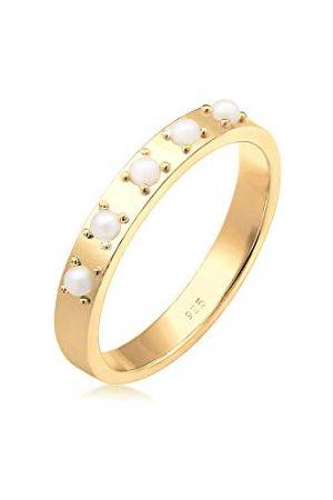 Elli Ringen Dames Elegant Vlak met synthetische parels in 925 Sterling Zilver