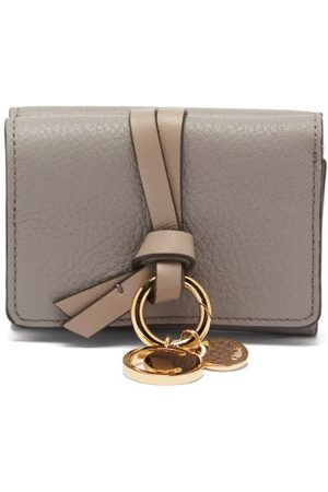 Chloé Alphabet Grained-leather Wallet - Womens - Grey