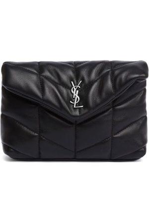 Saint Laurent Ysl-plaque Leather Puffer Clutch - Womens - Black