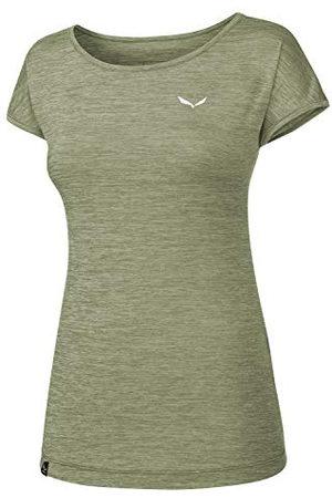 Salewa Dames blouses & T-shirts PUEZ Melange Dry W S/S Tee, veldspar Green melange, 50/44