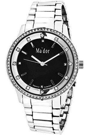 Ma'dor Mador Quartz horloge voor dames vrouwen met diamanten en Swarovski elementen vrouwenhorloge dameshorloge met metalen armband in kwartshorloge analoog waterdicht MAW1211