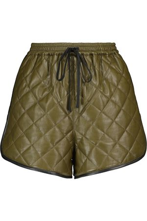 Self-Portrait Dames Shorts - Quilted faux leather shorts