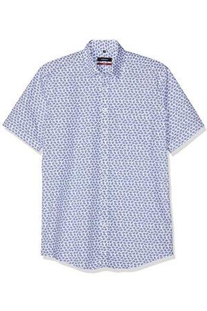Seidensticker Modern herenshirt met korte mouwen en verborgen button-down-kraag, zachte bloemenprint, businesshemd