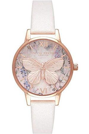 Olivia Burton Dames analoog kwarts horloge met lederen armband OB16GH07