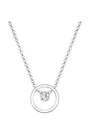 Elli Damesketting met hanger cirkel 925 kristal wit briljant geslepen 45 cm - 0108630916_45