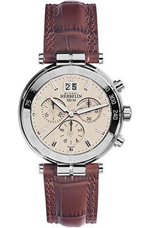 Michel Herbelin Unisex volwassenen chronograaf horloge met lederen armband 36654/AP17MA