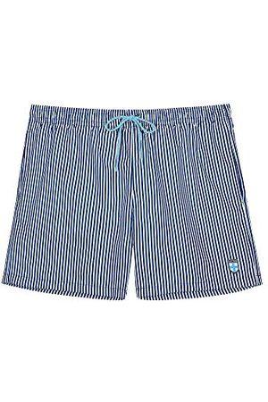 Hom Heren Boxershorts - Heren Beach Boxer 'Justin' - navy/white stripes - L