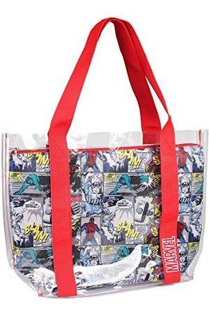 Cerdá Dames Strandtassen - Handvaten, transparante strandtas met binnenvak, bedrukt door Marvel Comic, uniseks, kinderen, rood, 33 cm