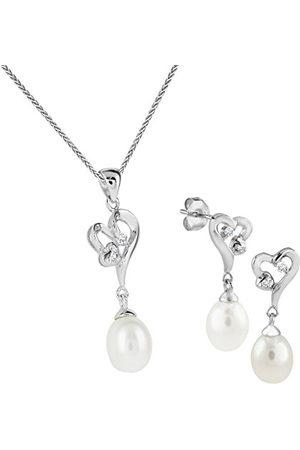 Bella Donna Dames Set 925 zilveren oorstekers + hanger/ketting 3 SW-ZP druppel. 7,5-9 mm wit zirkonia wit