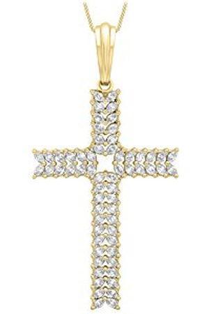 """CARISSIMA Goud 9ct Goud Grote Cubic Zirkonia Kruis op Curb Chain Ketting van 46cm/18"""""""