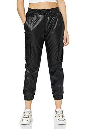 Urban classics Dames Ladies Faux Leather Cargo Pants Broek