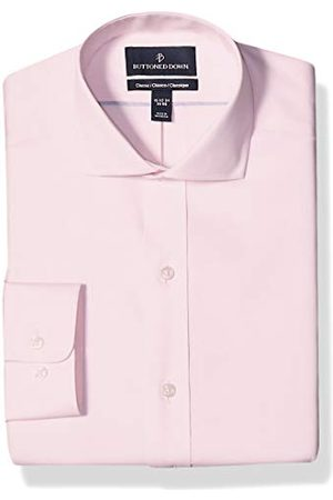 Buttoned Down Heren Lange mouw - Knopen Down Heren Klassieke Fit Cutaway Kraag Effen Niet-ijzer Jurk Shirt Geen Pocket Lange Mouwen Jurk Shirt, (Lichtroze),15 Neck / 33 Sleeve