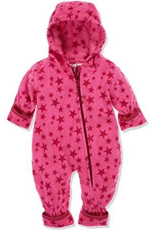 Playshoes Meisjes Jumpsuits - Baby fleece overall, ademende uniseks jumpsuit voor jongens en meisjes met lange ritssluiting en capuchon, met sterrenpatroon