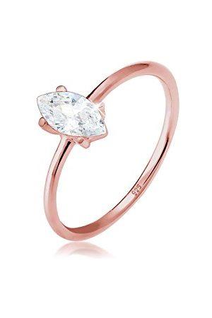 Elli Dames Kettingen - Ringen Ringen Marquise zirconia minimalistisch 925 zilver