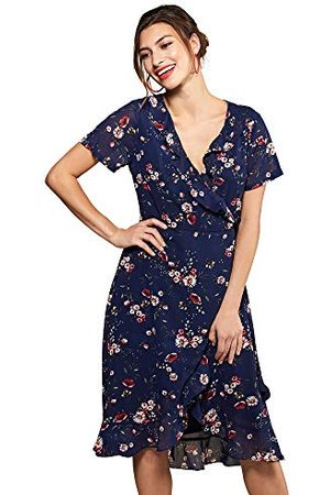Yumi Vrouwen Madeliefje Print Wrap jurk Casual