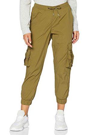 Urban classics Dames broek dames hoge taille crinkle nylon cargobroek cargobroek voor vrouwen met opgestikte zakken in vele kleuren, maten XS - 5XL