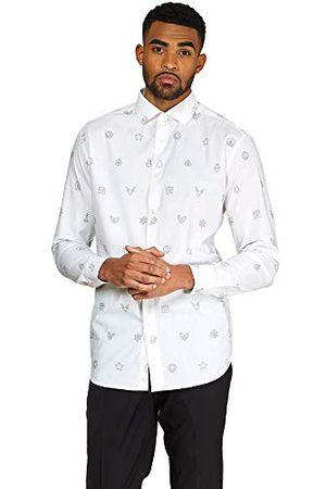 OppoSuits Heren Lange mouw - Heren kerst getailleerd button-up shirt met lange mouwen - wit - XL