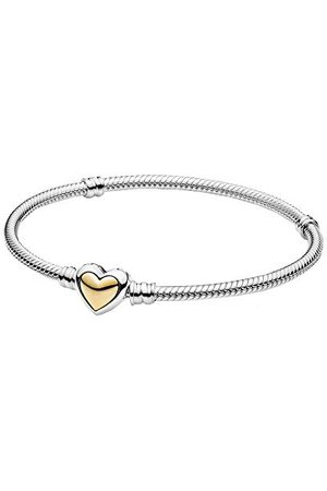 PANDORA Gebogen gouden hart sluiting slangenschakelarmband, sterling en 14k goud, 16cm, 599380C00-16