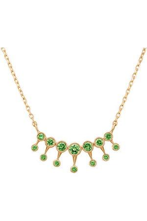 Celine d'Aoust Vrouwen 14ct goud ronde groene tsavoriet 7 balken dubbele verlichting ketting van 38-42cm