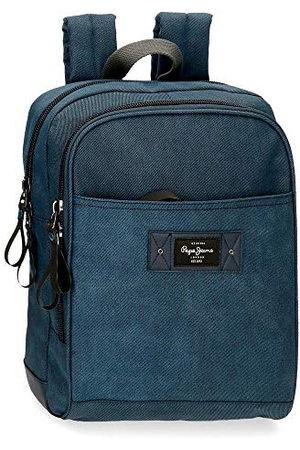 Pepe Jeans Vivac rugzak voor laptops 13,3 inch, blauw, 27 x 36 x 12 cm, katoen en PU, 11,66 l