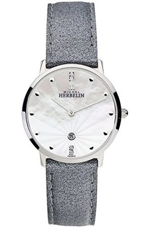 Michel Herbelin Unisex volwassenen analoog horloge met lederen armband 16915/59GR