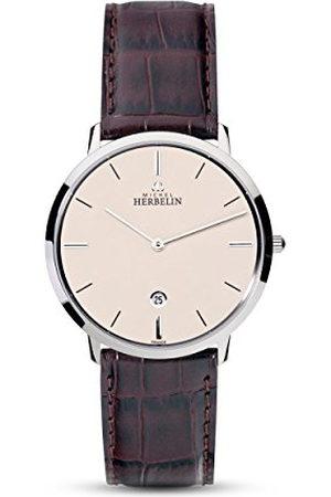 Michel Herbelin Unisex volwassen analoog horloge met lederen armband 19515/17MA