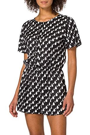 Moschino Love dames Fluid Viscose Twill Short Sleeved Playsuit in Allover Drops Print Casual Dress