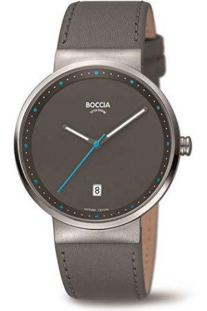 Boccia Unisex volwassenen analoog kwarts horloge met lederen armband 3615-03