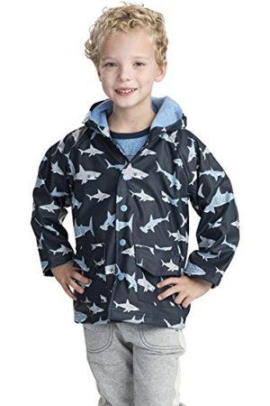 Hatley Jongens Bedrukte Regenjas, Blauw (Shark Frenzy), 4 Jaar