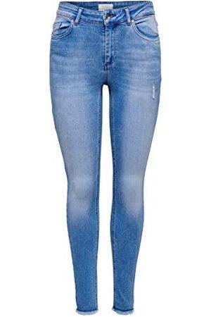 ONLY Dames Onlblush Mid Ank Raw Bb Rea4347 Noos Skinny Jeans, (Light Blue Denim Light Blue Denim), L / 32