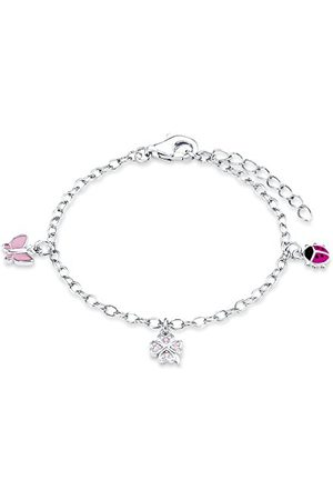 Prinzessin Lillifee 9082414 Armband met bedeltjes met lieveheersbeestje, vlinder en klavertjevier, zirkonia/925 sterling zilver, gerhodineerd/geëmailleerd, lengte: 12 - 14 cm, eén maat