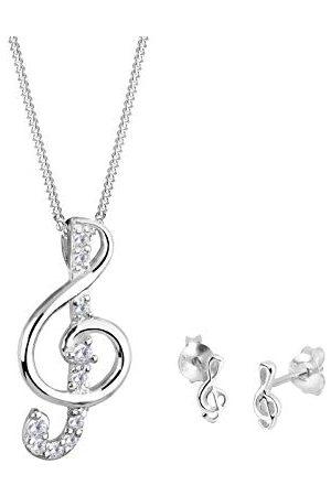 Elli Dames Sets - Sieraden Set Dames Kloof Hanger Klassieker met Kubieke Zirconia Kristallen in 925 Sterling